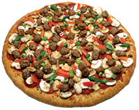 Creamy garlic sauce, mozzarella cheese, pepperoni, Italian sausage, fresh mushrooms, Roma tomatoes, green onions, chopped garlic