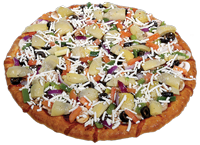 Tomato sauce, mozzarella cheese, marinated artichoke hearts, fresh mushrooms, black olives, Roma tomatoes, green peppers, red onions, topped with feta cheese and Italian seasoning