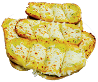 French bread with creamy garlic sauce topped with fresh mozzarella cheese.