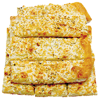 Pizza bread with creamy garlic sauce, dusted with feta cheese and Via Mia seasoning