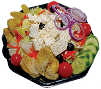 Lettuce, tomatoes, cheese, red onions, artichoke hearts, olives, cucumber, pepperoncini, carrots, feta cheese
