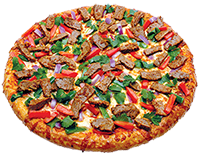 Spicy sauce, mozzarella cheese, steak, red onions, green peppers, Roma tomatoes, cilantro (jalapeno upon request)