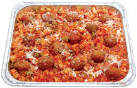 Oven baked Rotini pasta topped with marinara sauce and seasoned meatballs