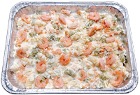 Oven baked Rotini pasta topped with creamy Alfredo sauce and shrimp