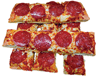 Pizza bread topped with fresh mozzarella cheese and pepperoni