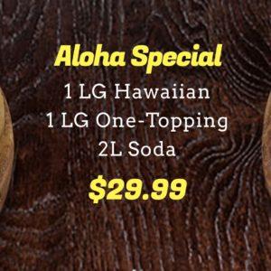1 LG Hawaiian + 1 LG One-Topping + 2L Soda